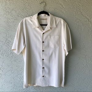 Tommy Bahama size large cream button down shirt